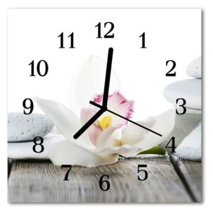 Glass Wall Clock Orchid nature white 30x30 cm
