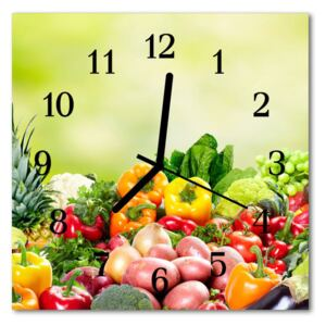 Glass Wall Clock Vegetables food and drinks multi-coloured 30x30 cm