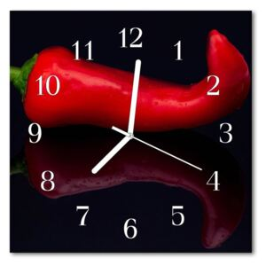Glass Wall Clock Chillies food and drinks red 30x30 cm