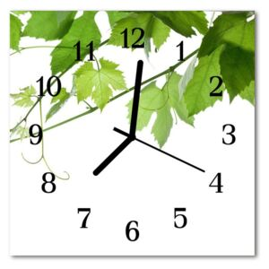 Glass Wall Clock Leaves nature white 30x30 cm