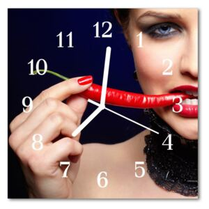 Glass Wall Clock Chili pepper food and drinks blue 30x30 cm