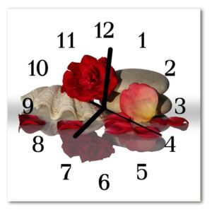 Glass Wall Clock Rose shell nature white 30x30 cm