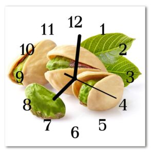 Glass Wall Clock Nuts food and drinks green 30x30 cm