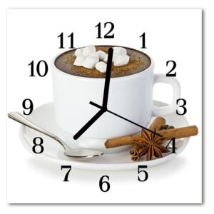 Glass Wall Clock Chocolate food and drinks white 30x30 cm