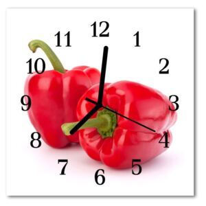 Glass Wall Clock Paprika food and drinks red 30x30 cm