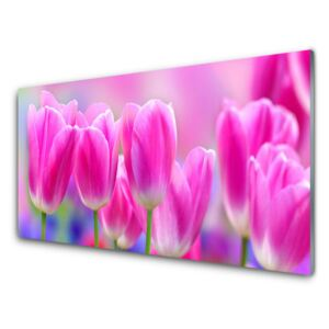 Acrylic Print Tulips floral pink 100x50 cm