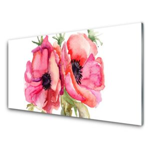 Acrylic Print Flowers watercolor floral red pink green 100x50 cm