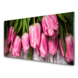 Acrylic Print Tulips floral pink green 100x50 cm