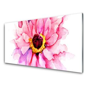 Acrylic Print Flower floral pink yellow white 100x50 cm