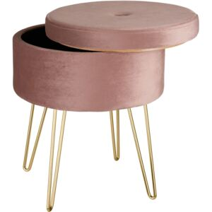Tectake 403953 stool ava upholstered velvet look with storage space - 300kg capacity - rose