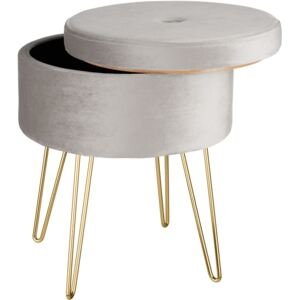 Tectake 403952 stool ava upholstered velvet look with storage space - 300kg capacity - light grey