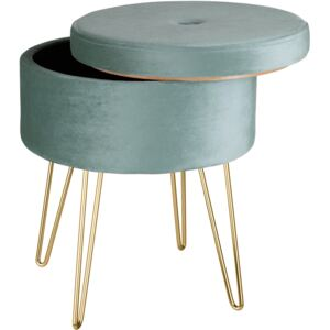 Tectake 403954 stool ava upholstered velvet look with storage space - 300kg capacity - turquoise
