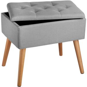 Tectake 403962 bench ranya upholstered linen look with storage space - 300kg capacity - light grey