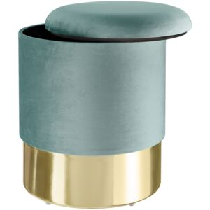 Tectake 403959 stool sarina upholstered velvet look with storage space - 300kg capacity - turquoise