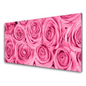 Acrylic Print Roses floral pink 100x50 cm