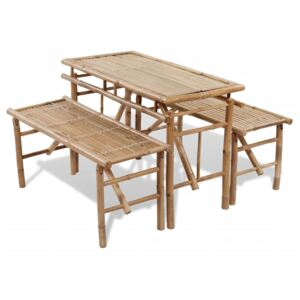 Beer Table with 2 Benches 100 cm Bamboo