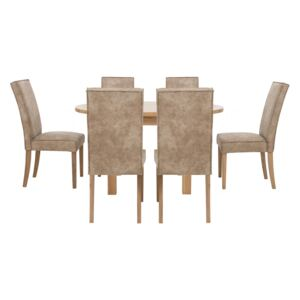 Furnitureland - California Solid Oak Round Extending Table and 6 Faux Suede Chairs