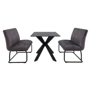 Creed Small Table and 2 High Back Benches Dining Set