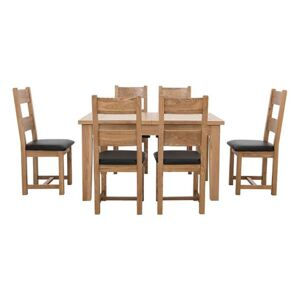 Furnitureland - California Solid Oak Rectangular Extending Table and 6 Wooden Chairs