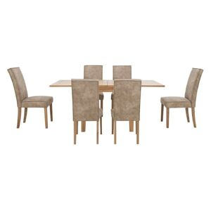 Furnitureland - California Solid Oak Flip Top Extending Table and 6 Faux Suede Chairs