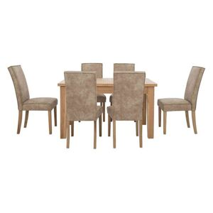 Furnitureland - California Solid Oak Rectangular Extending Table and 6 Faux Suede Chairs