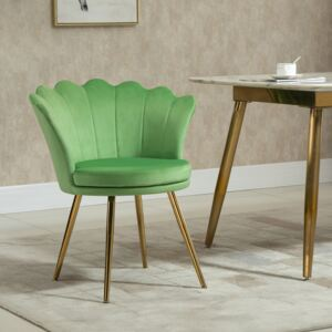 HOMCOM Accent Chair Modern Velvet-Touch Fabric Armchair with Gold Metal Legs for Living Room & Dining Room, Green