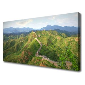 Canvas print Great wall mountains landscape green blue brown 100x50 cm