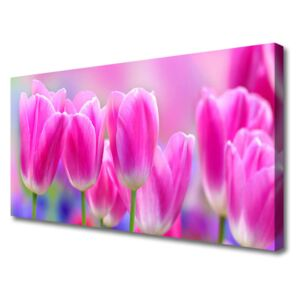 Canvas print Tulips floral pink 100x50 cm