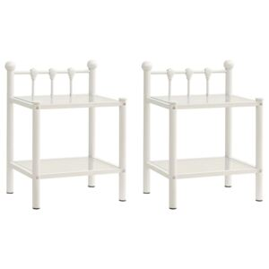 VidaXL Bedside Cabinets 2 pcs White and Transparent Metal and Glass
