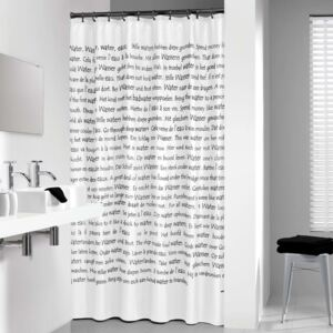 Sealskin Shower Curtain Sayings 180x200 cm White and Black