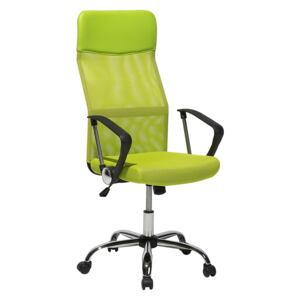 Executive Office Chair Green Mesh and Faux Leather Gas Lift Height Adjustable Full Swivel and Tilt Beliani