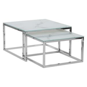 Nest of 2 Coffee Tables White Top Marble Effect Silver Frame Tempered Glass Stainless Steel Legs Minimalist Glam Style Beliani