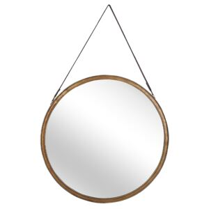 Wall Mirror Gold Distressed Metal Faux Leather Strap Round 60 cm Decorative Hanging Accent Piece Modern Beliani