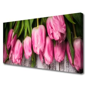 Canvas print Tulips floral pink green 100x50 cm