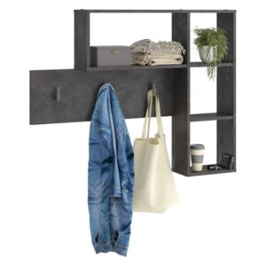 FMD Wall-mounted Coat Rack 4 Open Compartments Anthracite