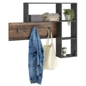 FMD Wall-mounted Coat Rack 4 Open Compartments Anthracite and Dark Brown