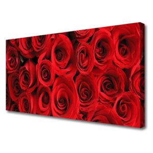 Canvas print Roses floral red 100x50 cm