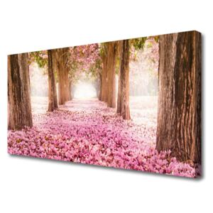Canvas print Footpath tree trunks nature brown pink 100x50 cm