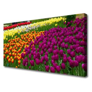 Canvas print Tulips floral yellow red green white 100x50 cm