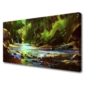 Canvas print Forest lake stones nature green brown blue 100x50 cm