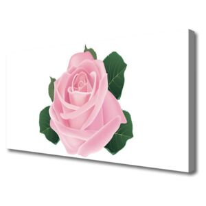 Canvas print Rose floral pink green 100x50 cm