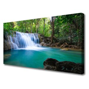 Canvas print Waterfall lake forest nature blue brown white green 100x50 cm