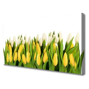Canvas print Tulips floral yellow green 100x50 cm