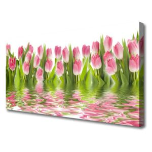 Canvas Wall art Tulips floral pink green 100x50 cm