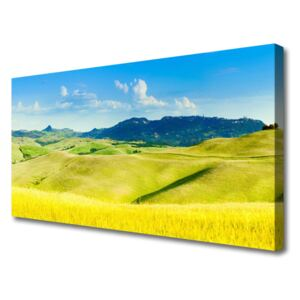 Canvas Wall art Country mountains landscape green blue 100x50 cm