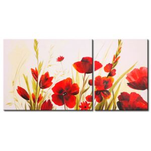 Canvas Print Poppies: Poppies and other flowers