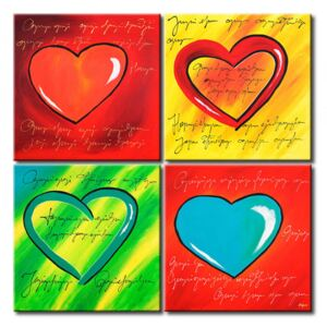Canvas Print Love: Collection of colourful hearts