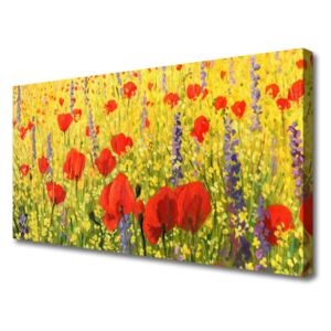 Canvas Wall art Flowers floral red purple 100x50 cm