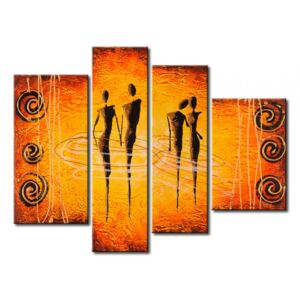 Canvas Print Characters: Two couples - orange