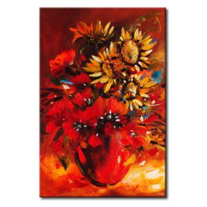 Canvas Print Poppies: Poppies and sunflowers